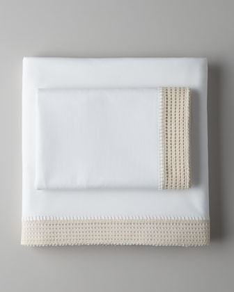 Coyuchi Crochet Queen Fitted Sheet traditional-sheets