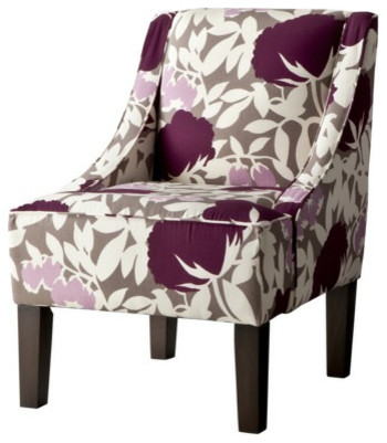Swoop Upholstered Slipper Chair, Lavendar Floral contemporary chairs