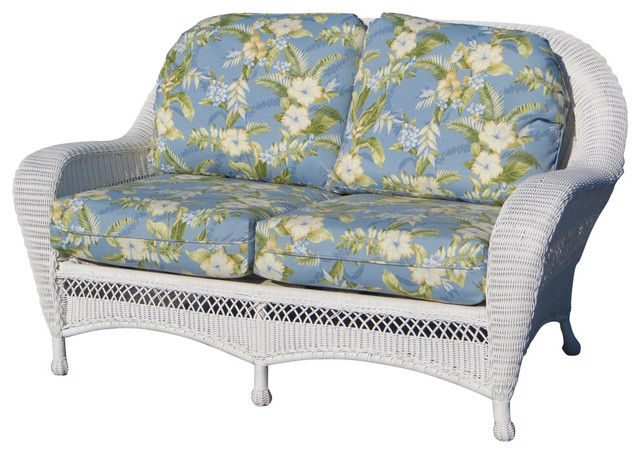 All Weather Resin Wicker Loveseat White Off White Traditional Furniture By Shopladder