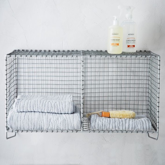 Wire Mesh Storage Hanging Double Shelf Industrial Display And Wall Shelves
