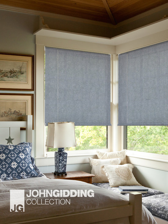 John Gidding Designer Window Shades - The John Gidding Collection was designed with you in mind. Grounded in material honesty and framed by sensible observations of how people personalize and interact with the spaces they inhabit, the John Gidding Collection of custom shades helps you enhance and soften your windows in an evocative and stylish way. Instantly familiar, the collection was inspired by tactile elements we encounter in our daily lives: a favorite sweater or your go to suit, natural burlap, well worn jeans, a paper's edge or raw shorn wood.
