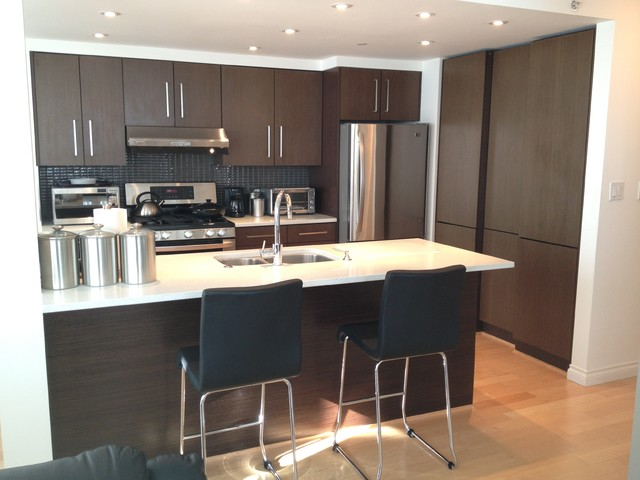 Wengee wood veneer finish contemporary kitchen cabinetry