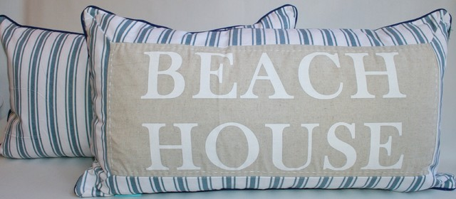 Beach House Coastal Accent Pillow - beach style - pillows - other