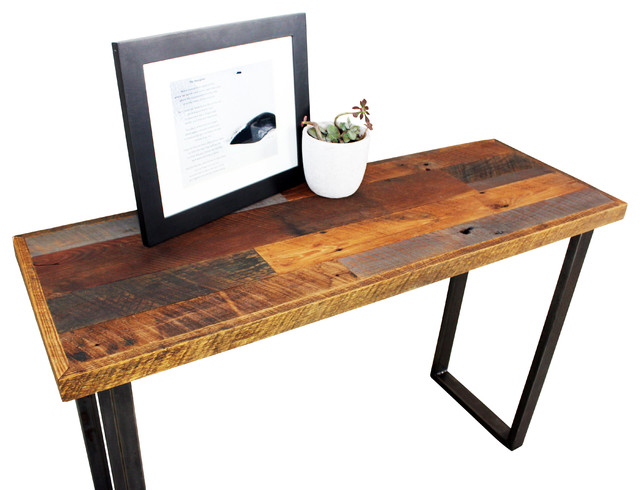 Reclaimed Patchwork Wood Hall Table With Metal Legs industrial-console ...