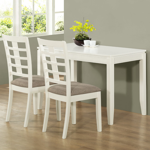 14 Space Saving Small Kitchen Table Sets 2019: Pearl White Veneer 3Pc Space Saver Table Set