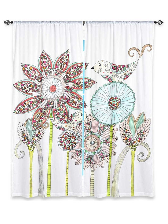 """DiaNoche Designs - Window Curtains Lined by Valerie Lorimer - My Perfect Garden - Purchasing window curtains just got easier and better! Create a designer look to any of your living spaces with our decorative and unique """"Lined Window Curtains."""" Perfect for the living room, dining room or bedroom, these artistic curtains are an easy and inexpensive way to add color and style when decorating your home.  This is a woven poly material that filters outside light and creates a privacy barrier.  Each package includes two easy-to-hang, 3 inch diameter pole-pocket curtain panels.  The width listed is the total measurement of the two panels.  Curtain rod sold separately. Easy care, machine wash cold, tumble dry low, iron low if needed.  Printed in the USA."""