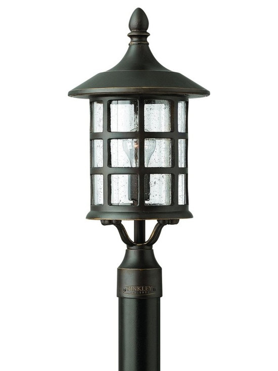 Hinkley Lighting - 1801OZ Freeport Outdoor Post Lamp, Oil Rubbed Bronze, Clear Seedy Glass - Whimsical Outdoor Post Lamp in Oil Rubbed Bronze with Clear Seedy glass from the Freeport Collection by Hinkley Lighting.