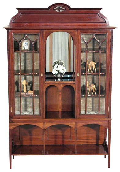 Antique English Mahogany 2 Door Curio Display Showcase Cabinet - Traditional - Furniture - by ...