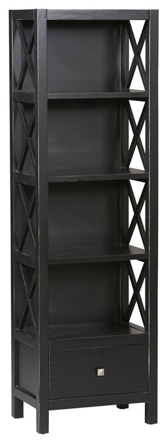 4 Shelf Tall Narrow Bookcase in Antique Black - Contemporary - Bookcases - by ivgStores