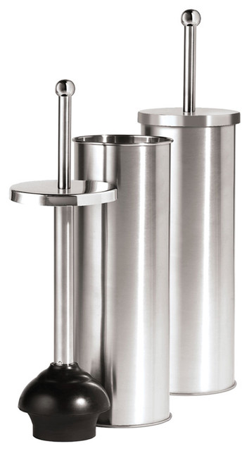 Stainless Steel Plunger With Holder Modern Toilet