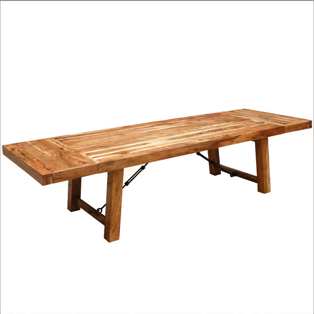Rustic wood large extendable dining table traditional dining tables san francisco by - All wood dining room table ...