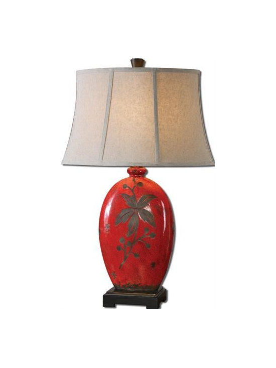 Uttermost Bellante - Antiqued crackled red ceramic with rustic black undertones. The oval bell shade is an oatmeal linen fabric.