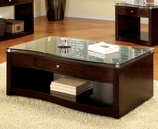 Furniture Of America Brook Glass Top Espresso Finish Coffee Table Contemporary Coffee Tables
