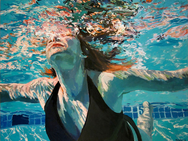 Underwater Swimmer Oil Paintings - Modern - Artwork - new ...