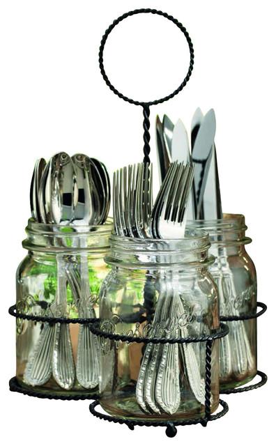 Glass Mason Jar 3 Sectional Flatware Caddy Traditional
