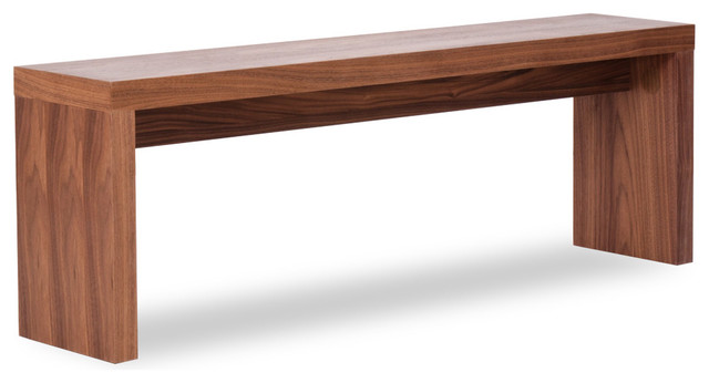 Caroline Walnut Seating Bench Small Modern Indoor
