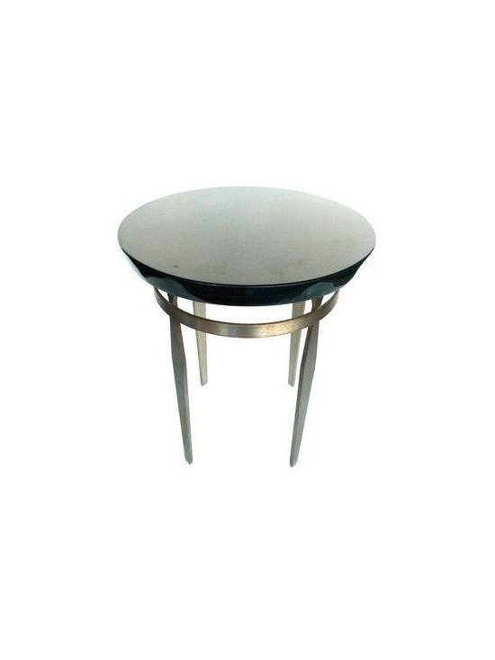 Pre-owned 1970 Steel & Polished Slate End Table - This small end table has a handsome minimalist design. It's constructed from very sturdy materials: the top is polished black slate, while its tapering legs are steel.