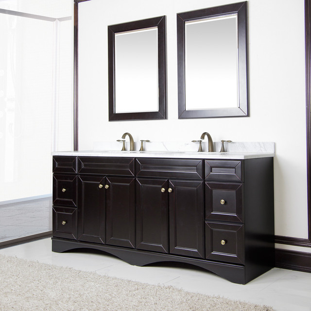 Espresso and Italian Carrera Marble 72-inch Double Sink Vanity by Sirio contemporary-bathroom-vanities-and-sink-consoles