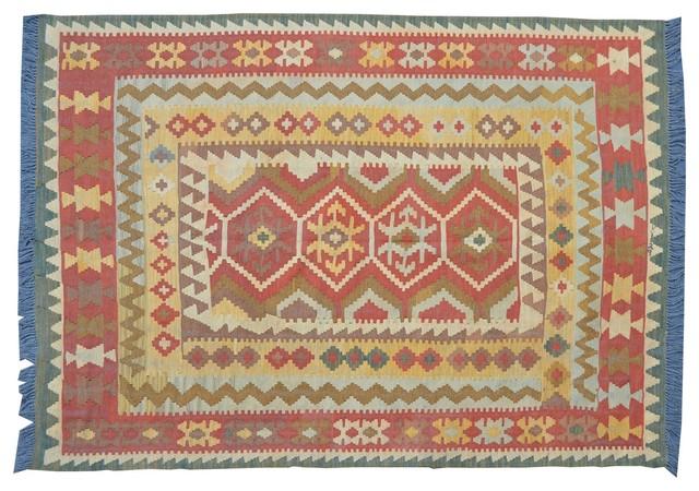 Anatolian Kilim Flat Weave Hand Woven Sh9594 transitional-rugs