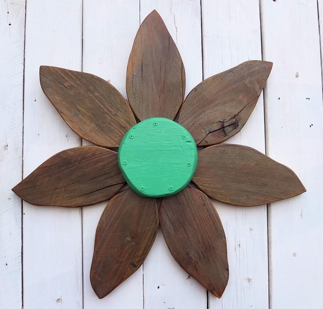 Wood Flower Door Wreath from Reclaimed Barn Wood | Emerald Green Flower Center rustic-home-decor