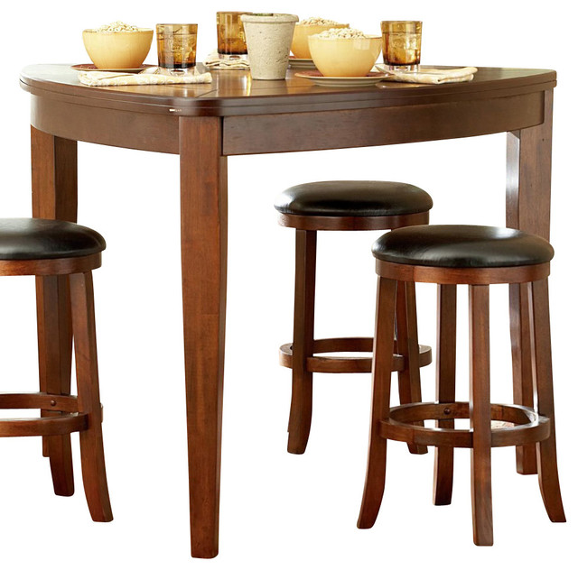 Homelegance ameillia triangle counter height table in dark oak traditional dining tables - Triangle dining table ...