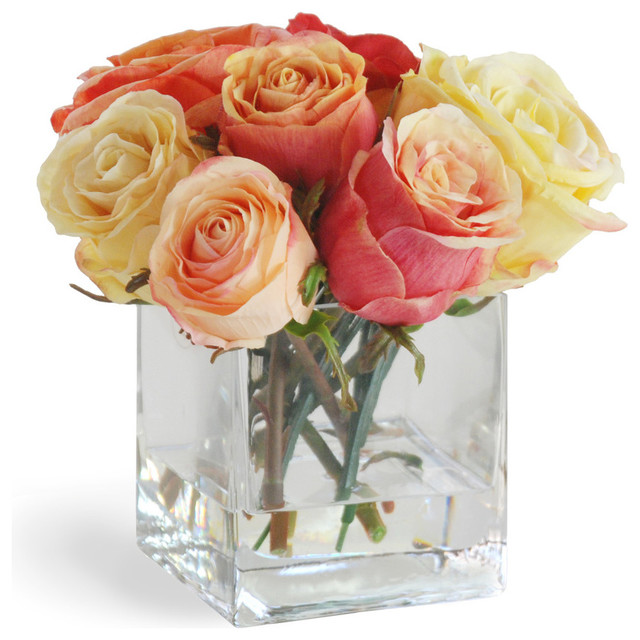 Rose In Vase Orange/Yellow Flower Arrangement traditional-artificial-flowers-plants-and-trees
