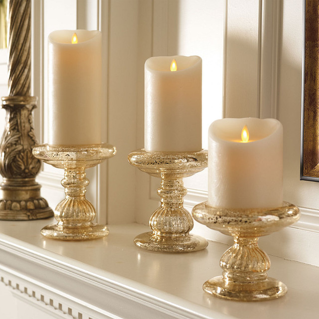 "Battery-operated Dream Candles with Remote Control - 4"" dia. x 5""H - Traditional - Candles And ..."