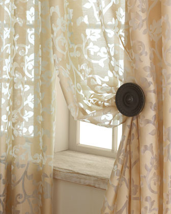 Each Palazzo Scroll Burnout Sheer Curtain, 108L traditional-curtains