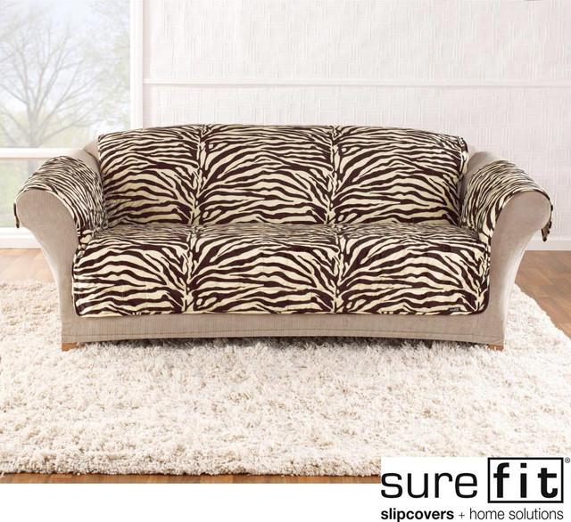 Velvet Zebra Brown Sofa Slipcover - Contemporary - Living Room Chairs ...