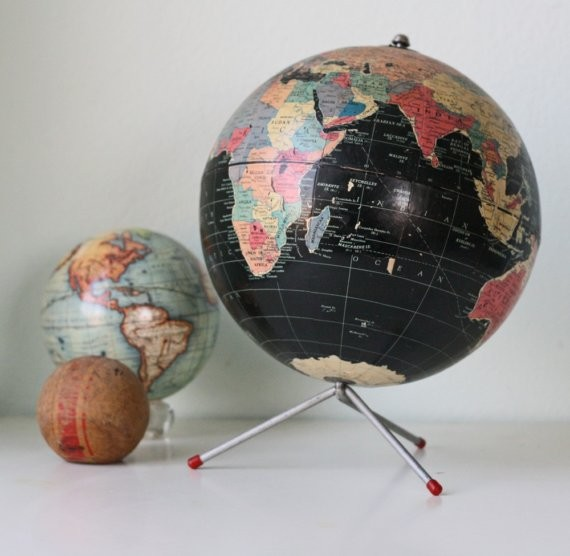 Vintage Retro Black Globe by Bellalulu Vintage eclectic-desk-accessories