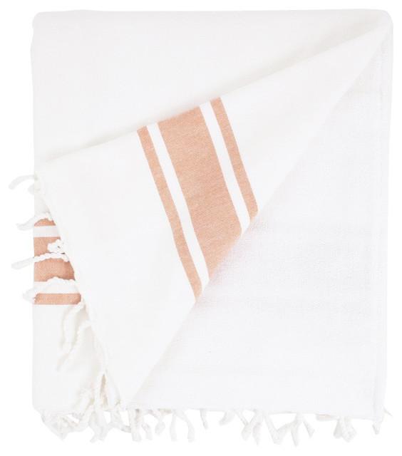 Nine Space Ayrika Orange Ocean Terry Oversize Fouta Towel contemporary-throws