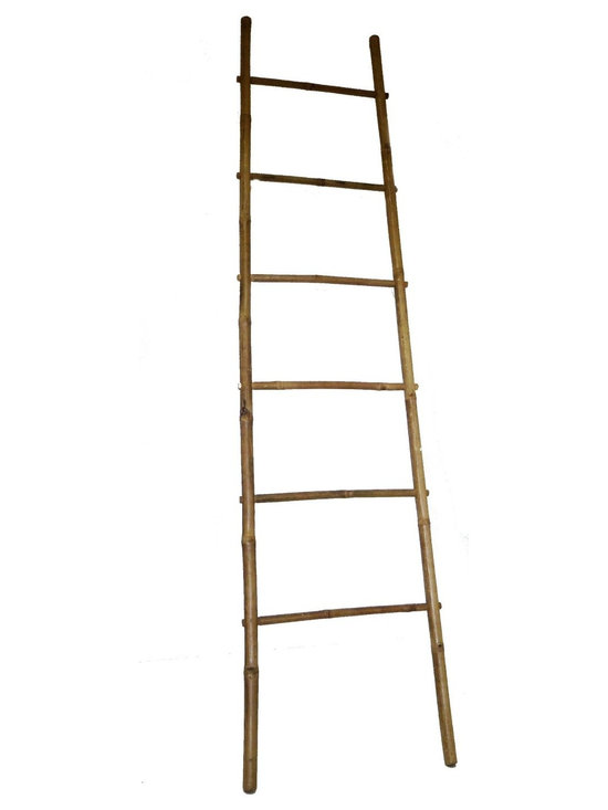 "Master Garden Products - 7' Bamboo Ladder Rack, 20""W x 84""H - Our bamboo ladder is uniquely designed to be used as a towel rack. It is made of natural solid bamboo and sand finished for indoor use. Finished with all natural sealer to enhance its look as well as for extra protection."