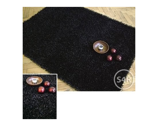 Rayona Shaggy Sparkle Rug Black - This rug has been carefully manufactured in India by Homescapes using 100% Polyester yarn in the pile of this rug. The backing is 100% cotton and has been hand woven using techniques passed on from generations to generations. It's simple but modern appearance makes it very fashionable...