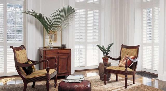 Hunter Douglas Heritance® Hardwood Shutters craftsman-window-blinds