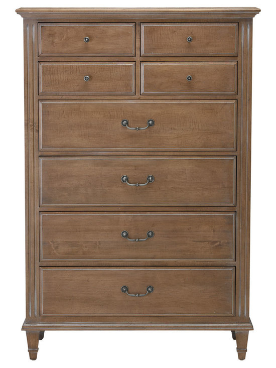 Ethan Allen - Jason Tall Chest - Delicate, unfettered lines lend a clean and classic feel to the maple Jason Tall Chest. It effortlessly blends traditional fluted pilasters with transitional, brushed-pewter decorative pulls. These timeless details give the chest enduring appeal.