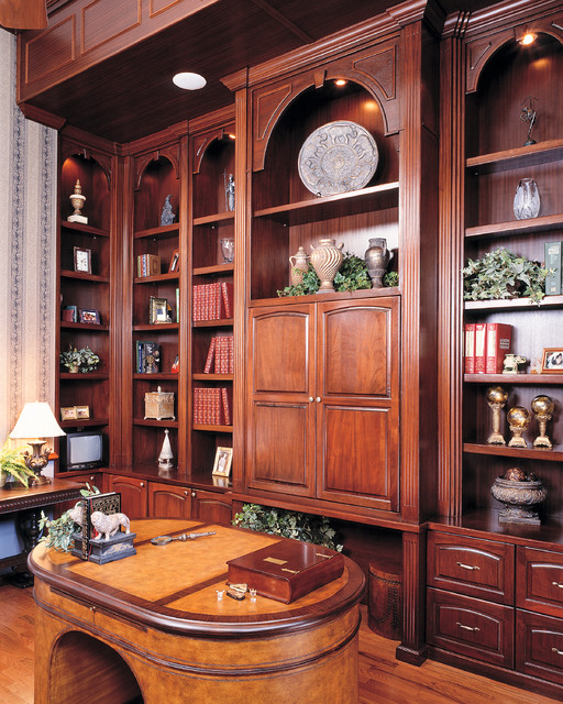 Custom built home office library traditional furniture for Custom home library design