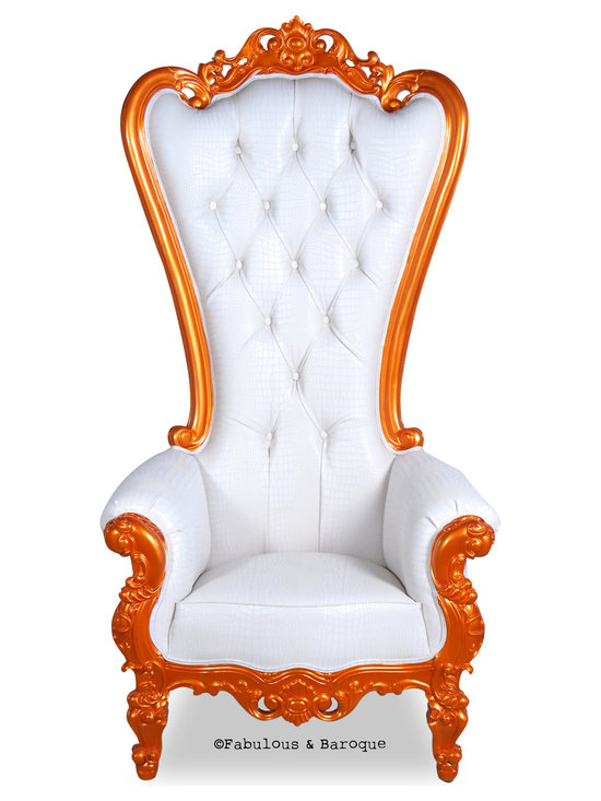 Fabulous and Baroque's Chairs & Benches - The Absolom Roche Chair in orange and white.