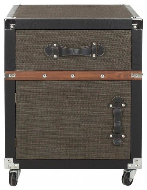 Joel Rolling Chest/Black-Brown-Silver transitional-storage-units-and-cabinets