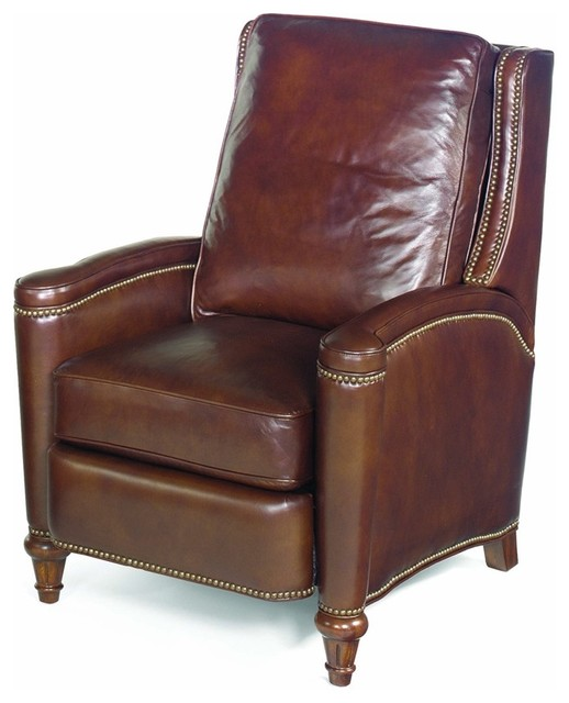 leather recliner w cushioned seat and back traditional recliner