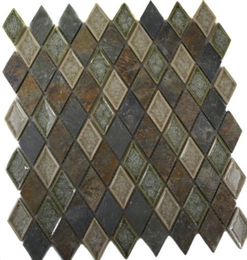 Roman Collection Emperial Slate Diamond Glass Tile contemporary-tile