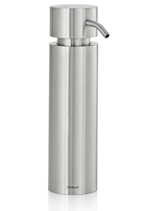 Blomus - Duo Free-Standing Soap Dispenser, Brushed - The Duo Free Standing Soap Dispenser is made with matte-finished stainless steel and features pump handle top. Volume: 6 fl. oz. (180 milliliters)