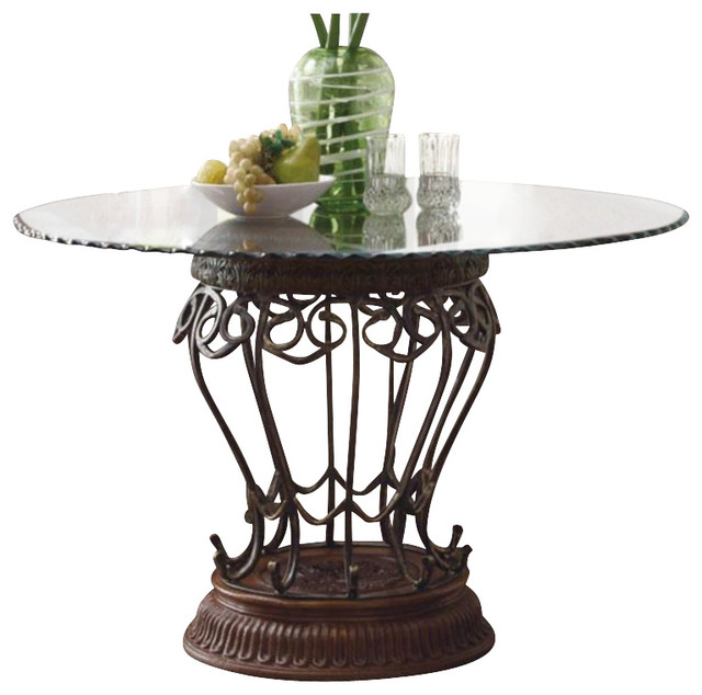 Coaster Slauson Round Glass Top Dining Table Traditional