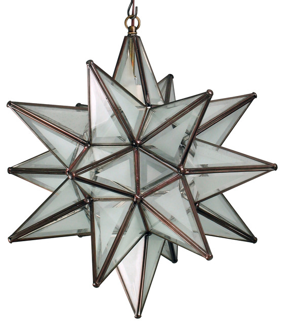 Large Partially Frosted Glass Star Light Rustic Pendant Lighting