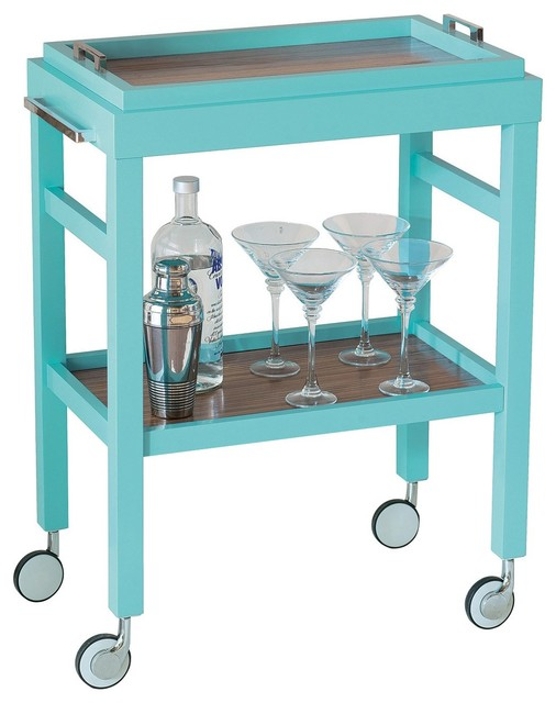 Avalon Turquoise Bar Cart Contemporary Bar Carts By
