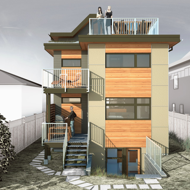 narrow passive house back elevation contemporary