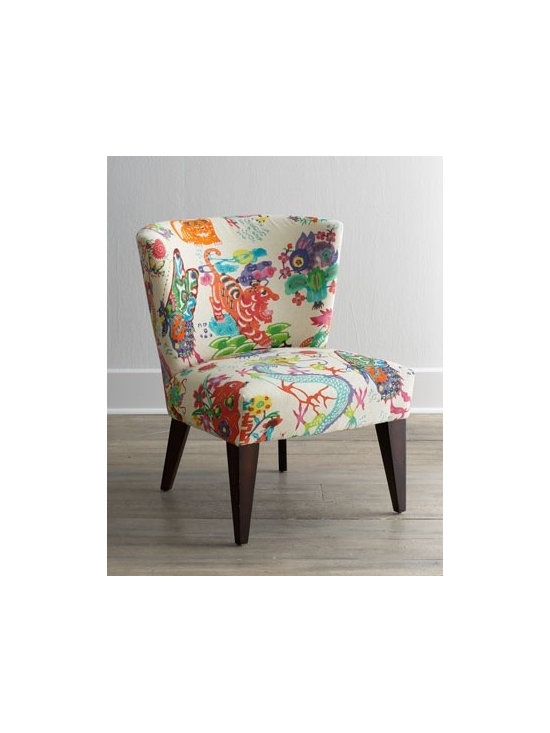 """Chinoiserie Dynasty"" Chair by Massoud - This chair is a fun take on two of the hottest trends we saw at market: bright colors and Asian motifs."