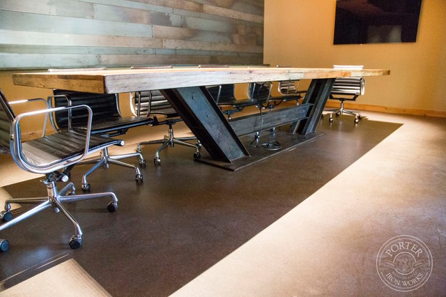 Conference Table - Reclaimed Tobacco Barn Brown - Industrial - Dining Tables - phoenix - by ...