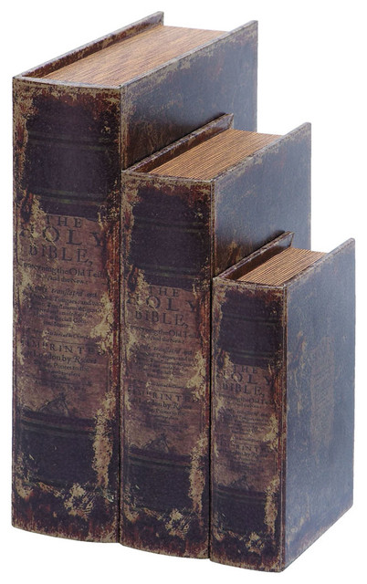 Faux Book Box Set With Ancient Holy Bible Theme traditional-storage-bins-and-boxes