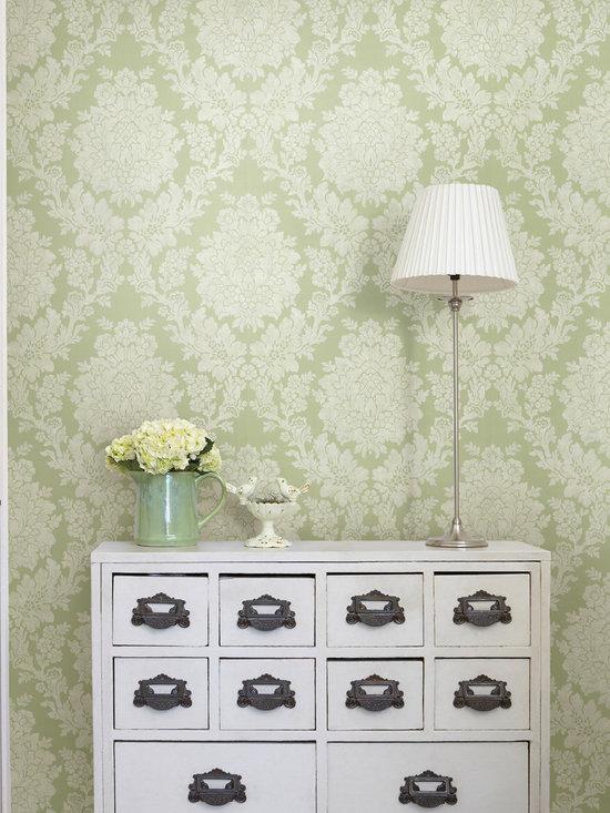 Liza Green Roselle Damask Brewster Wallpaper -