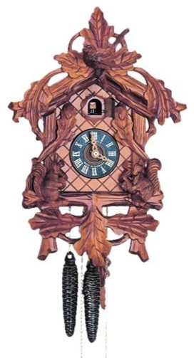 Anton Schneider Schneider 14 Inch Carved Squirrels and Bird Black Forest Cuckoo traditional-clocks